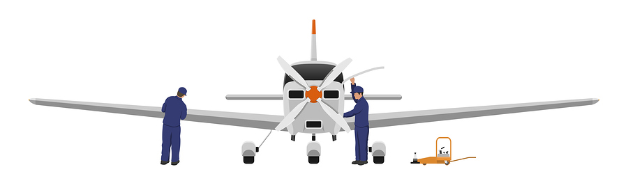 Repair and maintenance of aircraft. Engineers inspects the engine and wing of airplane. Industrial drawing of private plane in flat style. Front view. Vector illustration